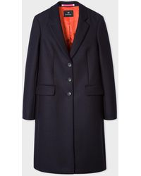 Paul Smith Dark Navy Wool And Cashmere-blend Three-button Epsom Coat - Blue