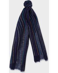 Paul Smith - Navy Stitch-stripe Linen Scarf - Lyst
