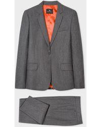 Paul Smith Grey Marl Flannel Wool Suit - Gray