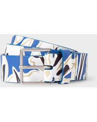 Paul Smith Indigo 'lucky Meadow' Print Leather Belt - Blue