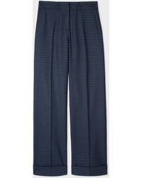Paul Smith Navy Pin Dot And Stripe Wool-blend Wide Leg Trousers - Blue