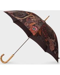 Paul Smith - 'monkey' Print Walker Umbrella With Wooden Handle - Lyst