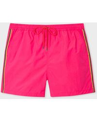 Paul Smith Short De Bain Fuchsia Bandes 'Artist Stripe' - Rose