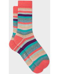 Paul Smith Multi-colour Glitter 'swirl Stripe' Socks - Blue