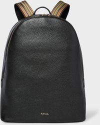Paul Smith Black Leather Backpack With Signature Stripe Straps