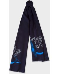 Paul Smith - Écharpe Bleu Marine Broderie 'Arctic Animals' En Coton - Lyst