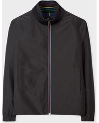 Paul Smith Black Waterproof Track Jacket With 'sports Stripe' Trims
