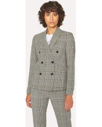 Paul Smith - Black And White Check Cotton Double-Breasted Blazer - Lyst