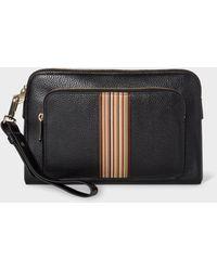 Paul Smith Black Leather Signature Stripe Pouch