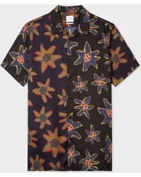 Paul Smith - Classic-Fit Black 'Torn Floral' Print Short-Sleeve Shirt - Lyst