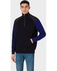Paul Smith Dark Navy Colour-block Half-zip Wool-blend Sweater - Blue