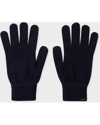 Paul Smith Dark Navy Cashmere And Merino Wool Gloves - Blue