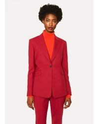 Paul Smith - Slim-Fit Red Houndstooth One-Button Wool Blazer - Lyst
