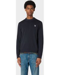 Paul Smith Dark Navy Zebra Logo Cotton Sweater - Blue