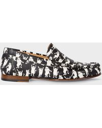 Paul Smith - Black 'Danny' Leather Loafers With 'Dancing Cats' Print - Lyst