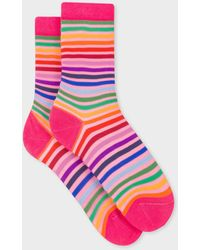 Paul Smith Chaussettes Roses À Rayures Multicolores