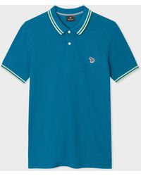 Paul Smith Slim-fit Teal Zebra Logo Supima Cotton Polo Shirt With Mint Tipping - Blue