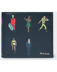 Paul Smith Navy Leather 'people' Print Billfold Wallet - Blue