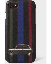 Paul Smith 'mini Stripe' Leather Iphone 6/6s/7/8 Case - Black