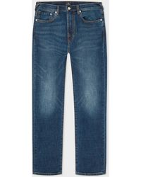 Paul Smith Tapered-fit 'crosshatch Stretch' Blue-rinse Jeans