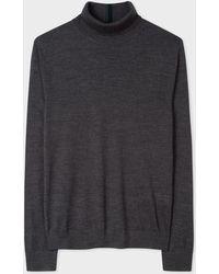 Paul Smith - Charcoal Grey Merino Wool Roll Neck Jumper - Lyst