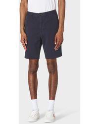 Paul Smith Dark Navy Garment-dyed Stretch Pima-cotton Shorts - Blue