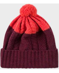 Paul Smith - Burgundy Cable-Knit Wool Beanie Hat - Lyst