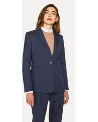 Paul Smith - Slim-Fit Blue Tonal Check One-Button Wool Blazer - Lyst