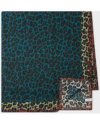 Paul Smith Teal 'leopard' Print Scarf - Multicolour