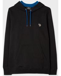 Paul Smith Sweatshirt À Capuche Noir Logo Zèbre En Coton Bio