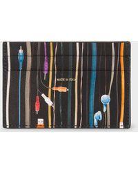 Paul Smith - Black 'earphones' Print Leather Credit Card Holder - Lyst