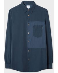 Paul Smith Navy Garment-dyed Cotton Shirt With Contrast Patch - Blue