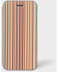 Paul Smith 'signature Stripe' Leather Iphone 6/6s/7/8 Wallet Case - Multicolour