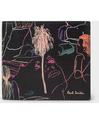 Paul Smith Beach Sketch Print Billfold Wallet - Black