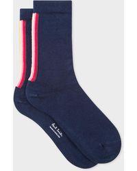 Paul Smith Navy 'swirl' Stripe Organic Cotton Socks - Blue