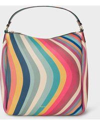 Paul Smith 'swirl' Print Leather Mini Hobo Bag - Multicolour