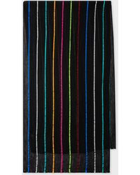 Paul Smith Black Silk-blend Scarf With Colourful Stripes