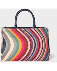 Paul Smith 'swirl' Print Leather Tote Bag - Multicolour