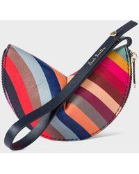 Paul Smith Swirl 'half Moon' Leather Keyring Pouch - Multicolour