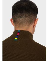 Paul Smith Khaki Zip-through Funnel-neck Cotton Cardigan - Natural