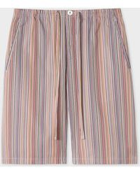 Paul Smith Signature Stripe Cotton Pyjama Shorts - Multicolour