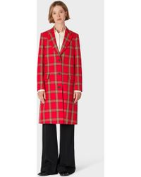 Paul Smith Red Tartan Check Epsom Coat