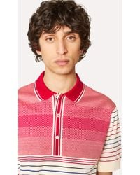 Paul Smith - Cream And Red Cotton Jacquard and Stripe Polo Shirt - Lyst
