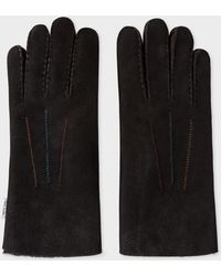Paul Smith - Gants Noirs En Peau De Mouton - Lyst