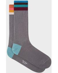 Paul Smith - Men's Grey 'artist Stripe' Cuff Odd Socks - Lyst