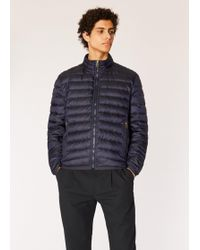 Paul Smith Navy Down-filled Jacket With 'artist Stripe' Gradient Lining - Blue