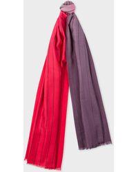 Paul Smith - Red And Dark Purple Dip-Dye Stripe Cashmere-Blend Scarf - Lyst