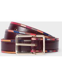 Paul Smith Burgundy 'swirl' Edge Leather Belt - Multicolour