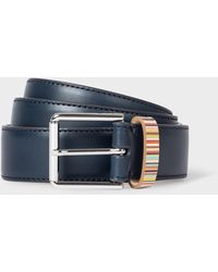Paul Smith Navy Leather Belt With 'signature Stripe' Keeper - Blue