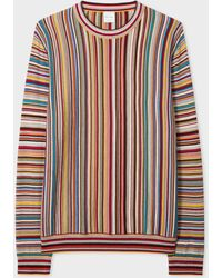 Paul Smith Pull en laine à jacquard Signature Stripe - Multicolore
